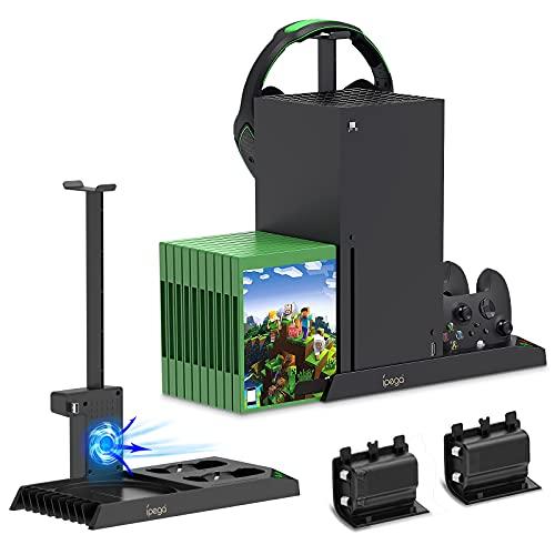 Auarte Vertikal Standfuß mit Controller Ladestation Kompatibel mit Xbox Series X Konsole, 5 in 1 Super Ständer mit Lüfter & 2stk 1400mAh Akkus & Gaming Headset Halterung & Spiele Aufbewahrung