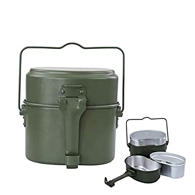 SILII 3 in 1 Military Mess Kit Aluminum Heating Lunch Box Army Canteen Kit Outdoor Picnic Box, Perfect for Camping, Hiking,Survival