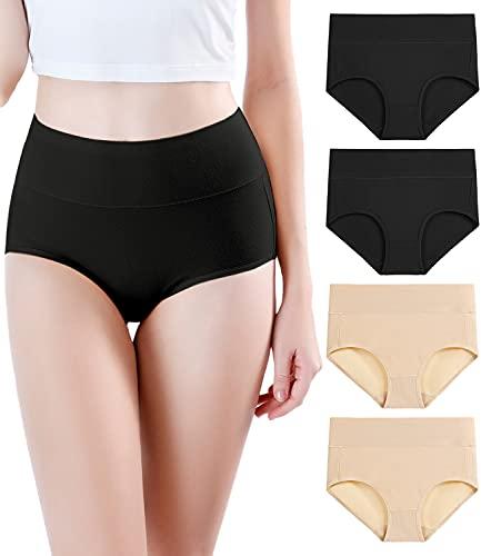 wirarpa Taillenslip Damen Unterhosen Bambus Mikrofaser Panties Slips Damen Unterwäsche mit Hoher Taille Ultra Weich 4er Pack Schwarz, Beige Größe M