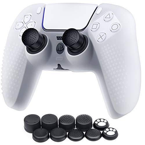 Benazcap Funda para Mando PS5 DualSense,Funda de Silicona Suave para PS5,Antideslizante, A Prueba de Polvo, elástica,Piel del Controlador PS5 x 1,con Agarre de Pulgar basculante x 10,Blanco