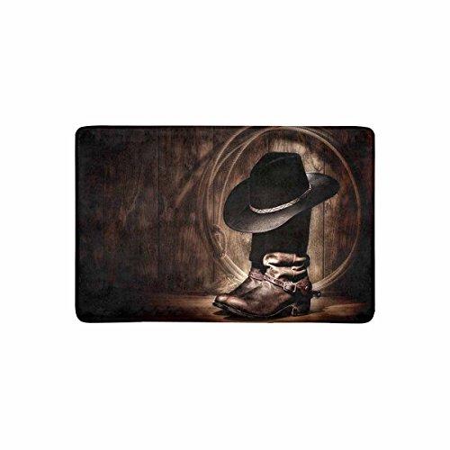 """InterestPrint Vintage American Western Cowboy Hat and Boot Doormat Anti-Slip Entrance Mat Floor Rug Indoor/Outdoor/Front Door Mat Home Decor, Rubber Backing 23.6""""(L) x 15.7""""(W)"""