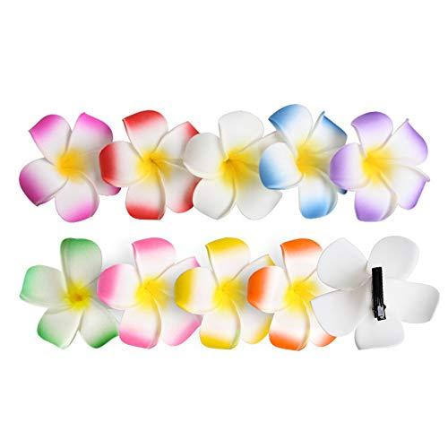 Longsing 10PCS Hawaii Haarclip Blume Plumeria Flower Haarnadelclips für Mädchen Frauen Hochzeitsfeier Pool Holiday Artifical Foam Frangipani Haarspangen FJ