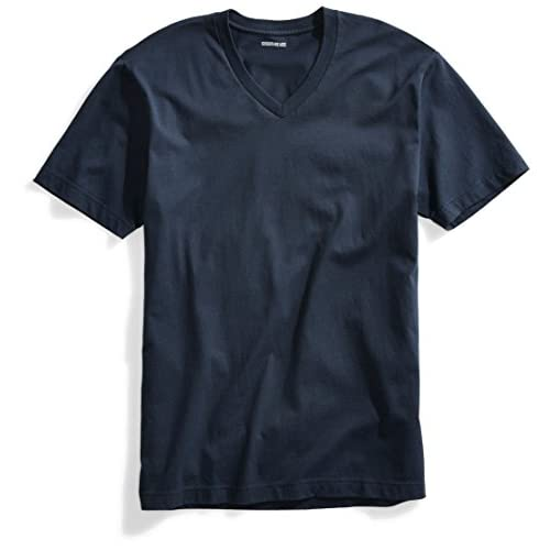 Goodthreads Short-Sleeve V-Neck Cotton T-Shirt, Blu (Washed Navy), Large