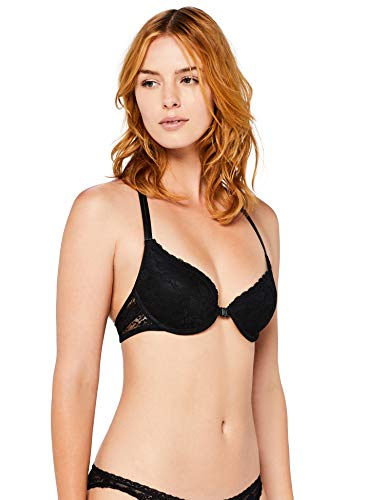 Amazon-Marke: Iris & Lilly Damen BH aus Spitze, Schwarz (Black), 80A, Label: 36A