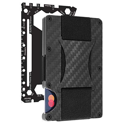 Carbon Fiber Money Clip Wallet - Metal Credit Card Wallet RFID - Mens Minimalist Front Pocket Wallets for Men- 2021 Version