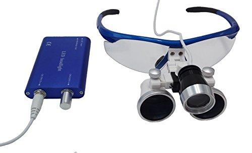 3.5x 420mm Surgical Binocular Loupes HeadLight Blue Aluminum Box