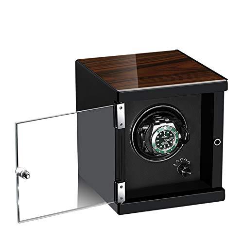YZSHOUSE Sola automática reloj devanadera motores silenciosos anti-magnéticos 5 modos disponibles en carcasa de madera y negro color café cuero madera Shell piano pintura exterior