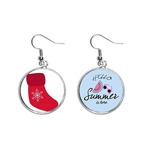 Boucles d'oreilles pendantes de Noël en forme de chaussette de neige Rouge