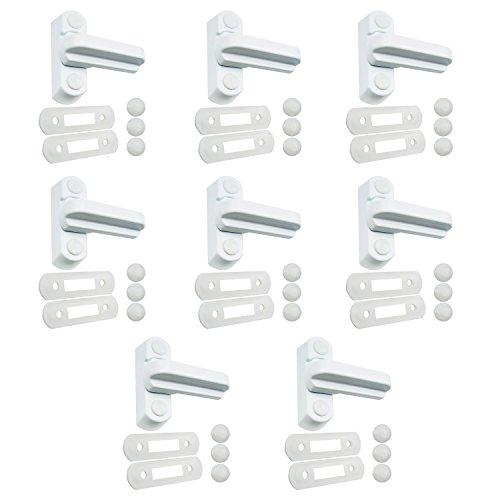 8chiusure di sicurezza di colore bianco in lega di zinco pressofusa, per la sicurezza domestica, sistema di bloccaggio per porte e finestre in uPVC / PVC