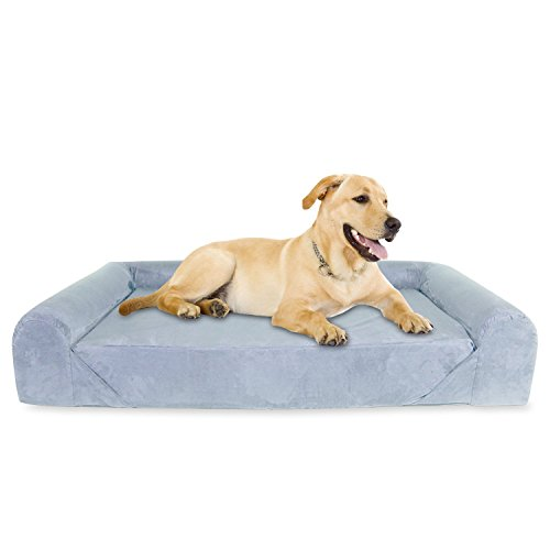 KOPEKS 6-inchThick High Grade Orthopedic Memory Foam Sofa Dog Bed Easy to Wash Removable Cover with Anti-Slip Bottom. Free Waterproof Liner Included - Jumbo XL 56' X 40' for Large Dogs - Grey