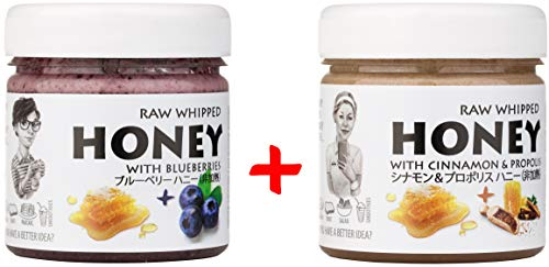 【Amazon.co.jp限定】 はちみつ 蜂蜜 ハチミツ 生 2個組 セット (ブルーベリーハニー200g、シナモンハニー200g) Raw Honey Set Blueberry 200g & Cinnamon and Propolis 200g