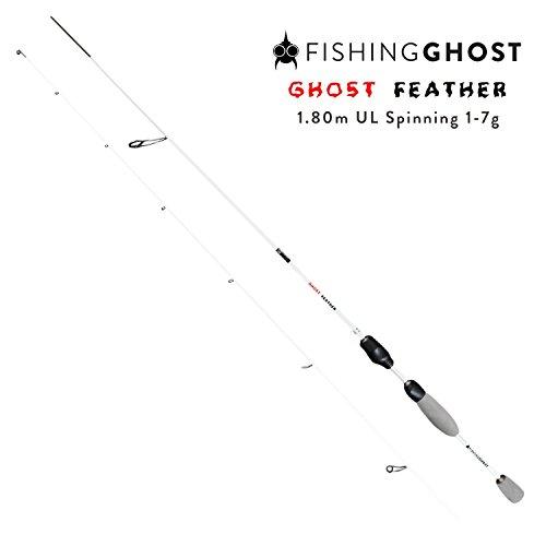 FISHINGGHOST® Ultraleicht Spinnrute Feather 1,80m Wurfgewicht: 1-7g Angelrute – Spinnrute – Steckrute – direkte Kraftübertragung beim Fischen auf Forelle, Saibling, Barsch