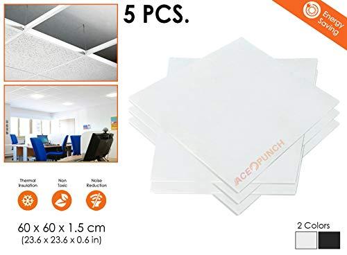 Acepunch 5 piezas BLANCA 60 x 60 x 1 cm Fibra de vidrio Acústico Panel Placa de techo AP1174