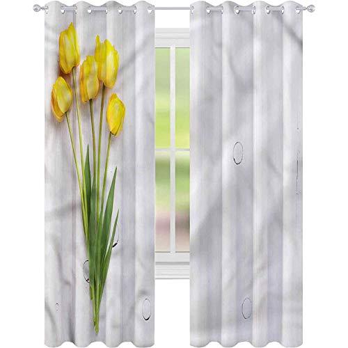 Cortina de ventana con tulipanes amarillos sobre tablero rústico, 42 x 72 cortinas para sala de estar