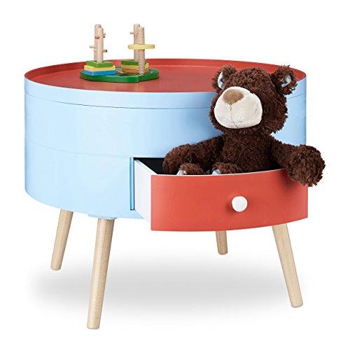 Relaxdays Tavolino con cassetto Comodino colorato per cameretta dei Bambini mobiletto Tondo HxD 45x60 cm Rosso Celeste