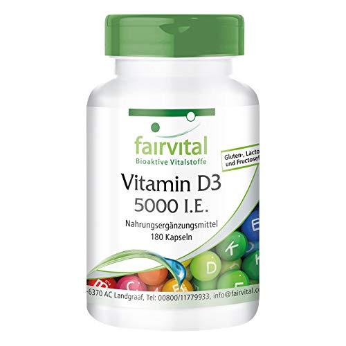 Vitamin D3 5000 I.E - HOCHDOSIERT - 180 Kapseln - alle 5 Tage 1 Kapsel - Cholecalciferol