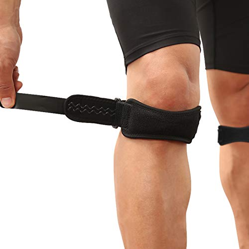 AGPTEK 2 Pack Rodillera Ajustable, Rodilla Protector Correa Rotuliana para Tendón Alivio de la Tendinitis, la estabilización de la Articulación en Tenis, Correr, Saltar, Béisbol, Escalada ect, Negro