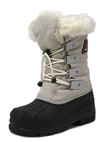 DREAM PAIRS Little Kid Maple Grey Beige Knee High Winter Snow Boots Size 11 M US Little Kid