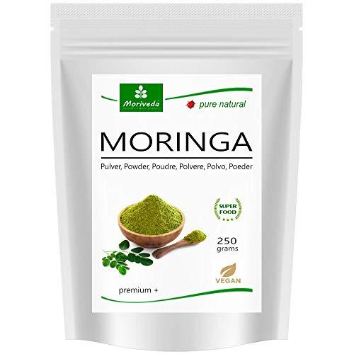 Moringa en poudre 250g, oleifera PREMIUM PLUS aliments crus certifié (1x250g)