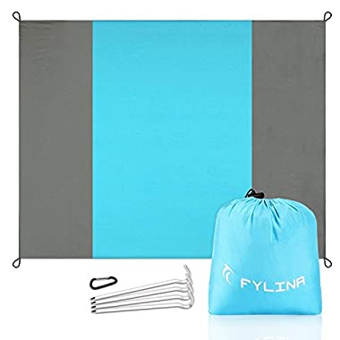 FYLINA Beach Blanket Huge Picnic Blanket Water Resistant Sand Free 7'x9' Oversized Nylon Outdoor Blankets with 4 Stakes Lightweight Portable Picnic Mat Machine Washable
