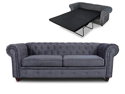 Schlafsofa Chesterfield Asti Bis 3-Sitzer, Sofa mit Schlaffunktion, Couch 3-er, Couchgarnitur, Sofagarnitur, Holzfüße, Polstersofa (Graphit (Capri 16))
