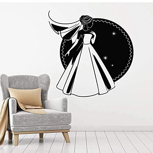 Matrimonio Moda Dama Vinilo Tatuajes De Pared Vestido De Novia Tienda Nupcial Pegatinas Decoración De Pared Murales Dormitorio Papel Tapiz Nueva Boda 84Cm X 92Cm
