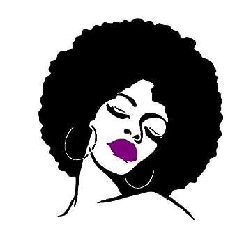 Melissalove Fashion Black Lady Wall Stickers Vinyl Wall Decal Large Wall Sticker Hot Sexy Hair Spa Salon DIY Self-Adhesive Wallpaper SA214  Purple Lips