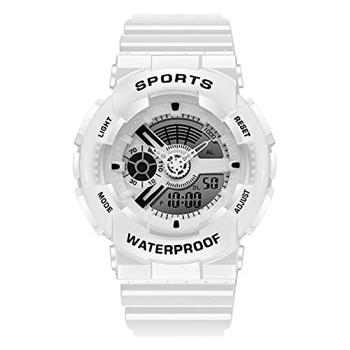 TREWQ Relojes Deportivos para Hombre, Digital Militares Relojes con Cuenta atrás para los Hombres LED Electrónico Grande Relojes Resistente al Agua 50M,Blanco