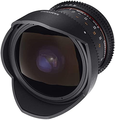 Samyang 8/3,8 Objektiv Fisheye II Video DSLR Canon EF manueller Fokus Videoobjektiv 0,8 Zahnkranz Gear, Weitwinkelobjektiv schwarz