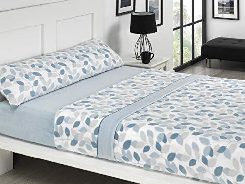 NH NOVOTEXTIL HOGAR Juego de sábanas de coralina 3 Piezas Varias Medidas,Modelos y Colores (Cama 135, Wisconsin)
