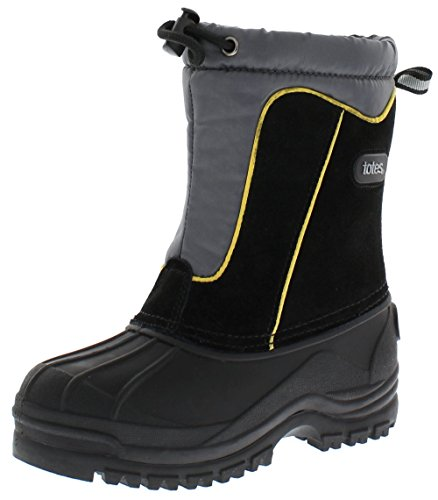 DREAM PAIRS Big Kid Knorth Navy Grey Orange Isulated Fur Winter Waterproof Snow Boots Size 4 M US Big Kid