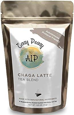 Chaga Latte Tea - Coffee Alternative - AutoImmune Protocol Compliant Caffeine Free Anti Inflammatory Food - Whole 30, Paleo Friendly - All Natural Organic Ingredients (Chaga, 14 Bags)