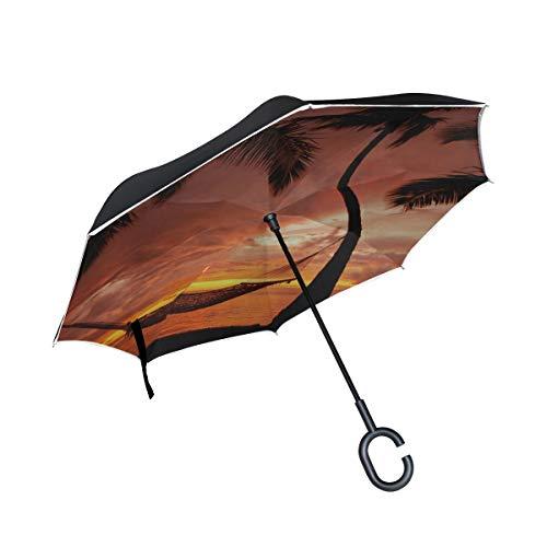 Paraguas invertido de Doble Capa Hamaca Blanca Invertida a Prueba de Viento sobre la Playa Paraguas Compacto Sombrillas Plegables para Mujer Protección a Prueba de Viento para la Lluvia con manija en