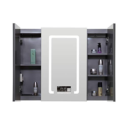 Fanuosuwr Armario de Pared Práctico Gabinete de Espejo de baño LED Reloj Digital Defogger Sensor de botón de Pantalla táctil Regalos para el Hogar (Color : Silver, Size : 120x80x13cm)