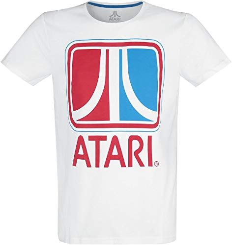 Atari Retro Männer T-Shirt weiß XL 100% Baumwolle Fan-Merch, Gaming, Retrogaming