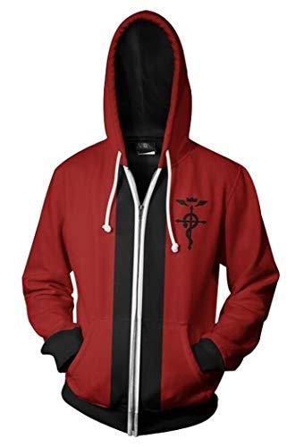 Wish Costume Shop Mens Sweatshirt Edward Elric Cosplay Costume Hoodie (XXXL, Red)