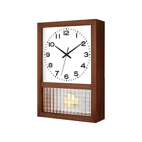 QSJY Wall Clock Reloj Giratorio de 16 Pulgadas (Tiempo automático, Color de Madera/Color de Nuez, Aguja Negra sin impresión, Vidrio a Cuadros) (Color : B, Size : 16inch)