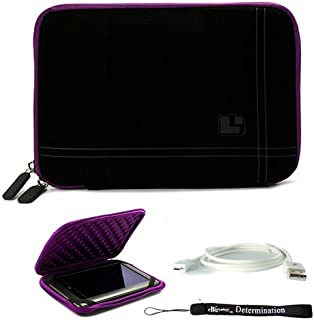Purple Black Stylish Cover Sleeve Case with Bump Protection for Accessories for Barnes and Noble Nook Color eBook Reader Tablet and USB Sync Cable