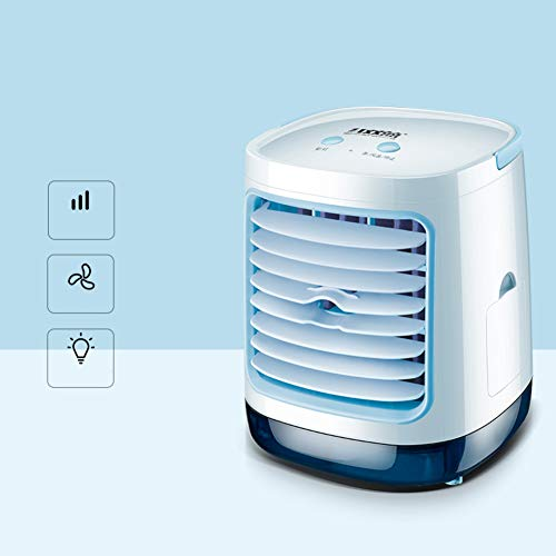 YOCASA USB Mini Evaporative Cooler Quiet Personal Cooling Humidifier Desktop Table Fan Night Light Bedside Office Study Room Baby Room,3 In 1 Air Conditioner Fan Blue Rectangular