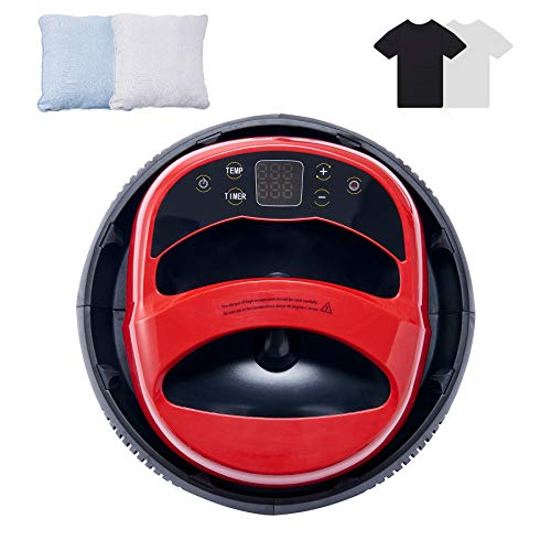 Z ZELUS Prensa de Calor Portátil 23x30CM con Placa Base Aislada Máquina de Prensa de Calor para Camisetas y Bolsas Prensa de Impresión en Caliente de Manos Libres (Negro y Rojo)