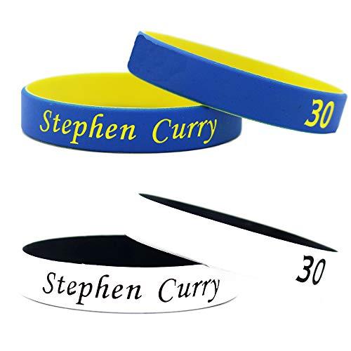Lorh's store Estrella de Baloncesto Firma Color Doble abanicos muñequeras Deporte Absorbe Sudor Pulsera de Silicona 4 Piezas (Stephen Curry)