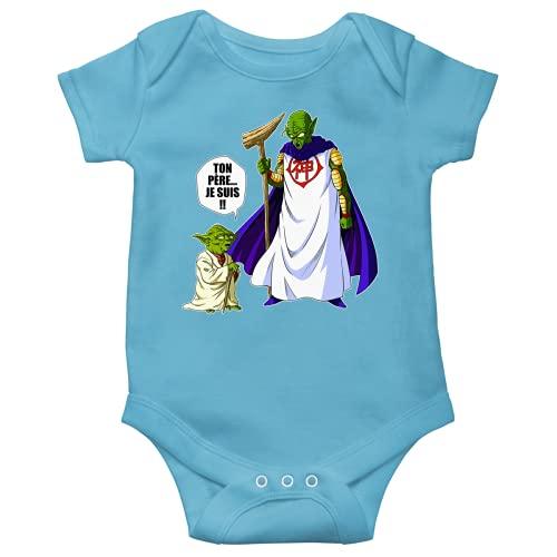Body bébé Manches Courtes Garçon Bleu Parodie Dragon Ball Z - Star Wars - Yoda et Dieu - Ton père. Je suis !! (Body bébé de qualité supérieure de Taille 12 Mois - imprimé en France)