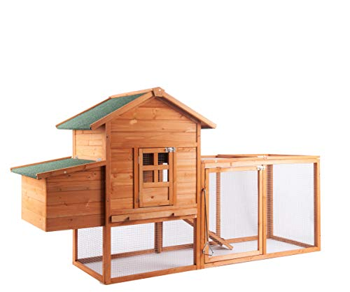"""GOJOOASIS 80"""" Outdoor Wooden Chicken Coop Hen House Poultry Cage w/ Wire Fence Indoor and Outdoor Use (A)"""