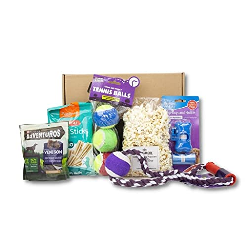DogBox Boutique 6 Item DogBox Dog Gifts Box Dog Hamper Perfect For Dog Birthday, Christmas Or A Monthly Treat - Bursting Dog Treats, Toys And Accessories…