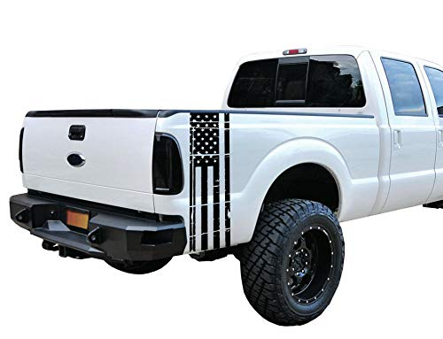 Matte Black Universal Distressed American Flag Vinyl Decal Set: Fits Any Dodge Ram Ford Chevy Nissan Toyota