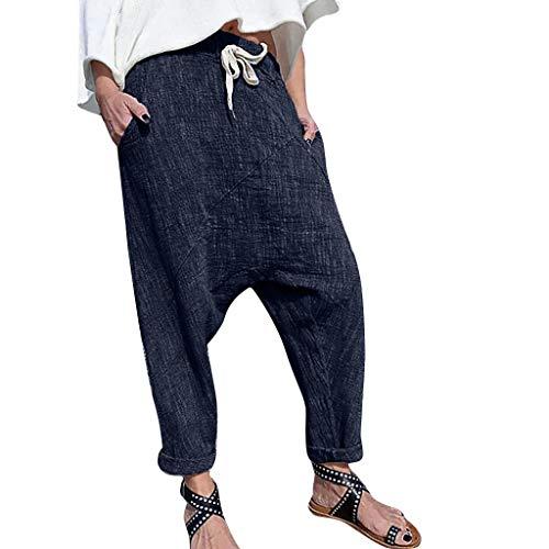Luckycat Pantalones de Lino para Mujer con Corte Holgado Ideal para Verano Mujer Cintura Elástica Pantalones Lino Suelto Pantalones de Pierna Ancha Casual Pantalón Capri Pantalones Tamaño Grande S-6XL