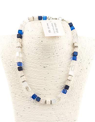 AdoniaMode Damen Würfelkette : Würfel-Perlen aus Glas, Lavawürfel,Edelstahl-Quadrate, Collier 8mm, 49cm lang Fb: Royal-Blau-Töne,Creme, Weiß, Handgefertigtes Unikat 1636