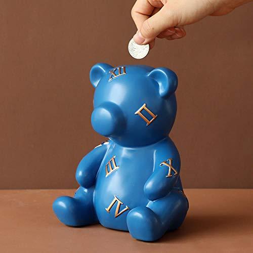 Caja de monedas de oso lindo de resina Figuras de decoración del hogar Caja de almacenamiento de regalo Caja de monedas Hucha para niños Regalos de cumpleaños Caja de dinero creativa-Blue_Bear