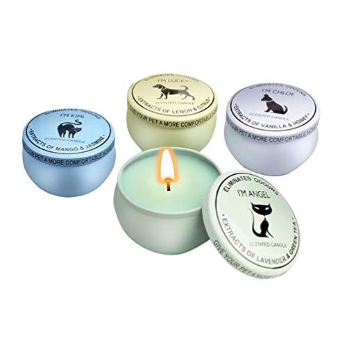 Preisvergleich Produktbild VOSAREA 4Pcs Pet Geruch Kammerjäger Kerzen Soja Wachskerze Wiederverwendbare Zinn Glas Duftkerzen