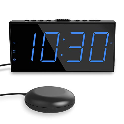 "Loud Alarm Clock with Bed Shaker, Vibrating Alarm Clock for Heavy Sleepers, 7"" Large Display, Dual..."
